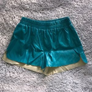 Lucca Couture Faux Leather Shorts Teal
